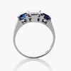 2.83ctw Vintage Emerald Diamond and Sapphire Trilogy Ring 3