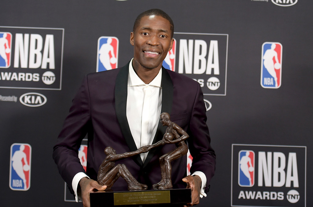 . Jamal Crawford, of the Minnesota Timberwolves, poses in the press room with the Twyman�Stokes teammate of the year award at the NBA Awards on Monday, June 25, 2018, at the Barker Hangar in Santa Monica, Calif. (Photo by Richard Shotwell/Invision/AP)