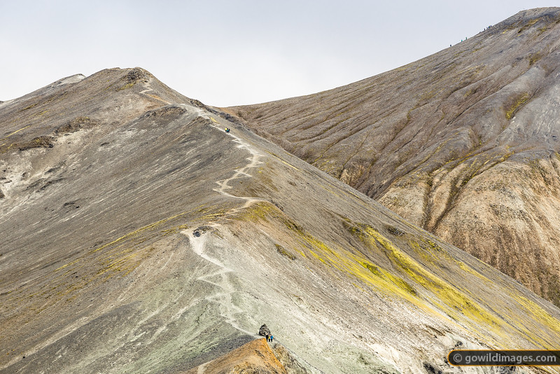 Walkers head up Bláhnjúkur peak at Landmannalaugar