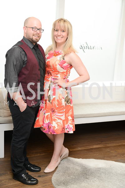 BJ Barretta, Erica Moody. Photo by Ben Droz. White House Correspondents' House of Code Brunch hosted by Buzzfeed and App Developers Alliance. Kinship Restaurant. April 30, 2016.