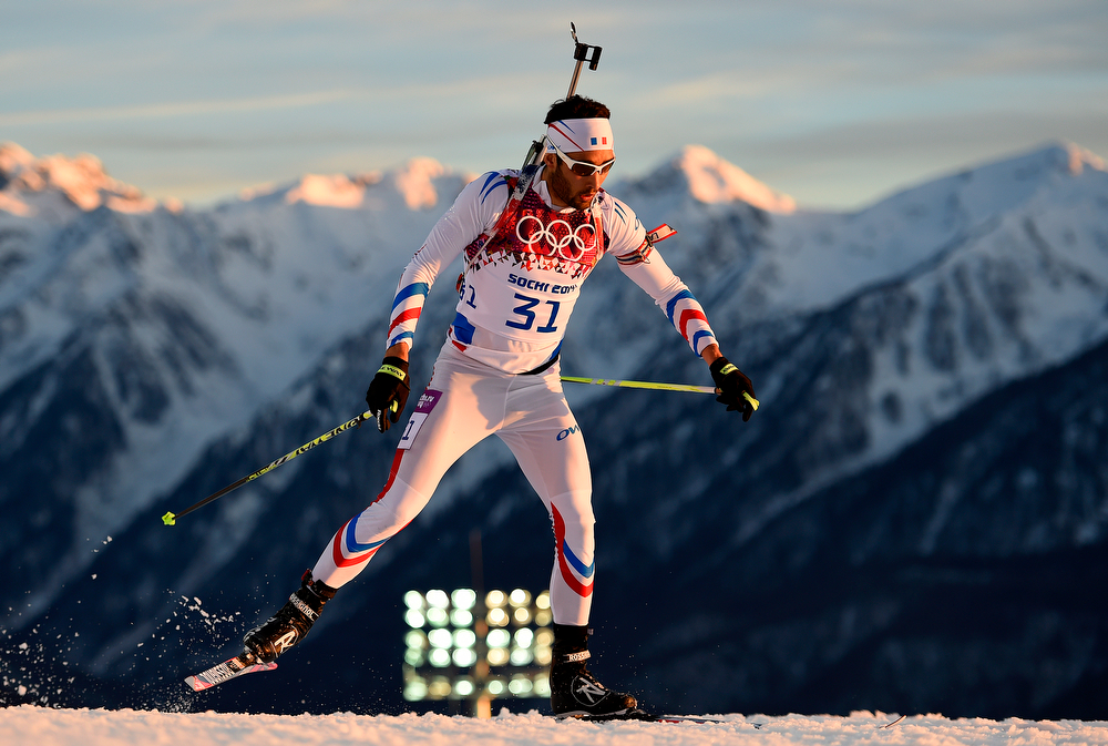 . Martin Fourcade of France competes in the Men\'s Individual 20 km during day six of the Sochi 2014 Winter Olympics at Laura Cross-country Ski & Biathlon Center on February 13, 2014 in Sochi, Russia.  (Photo by Lars Baron/Getty Images)