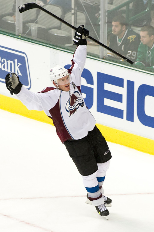 . DALLAS, TX - NOVEMBER 1:  Paul Stastny #26 of the Colorado Avalanche celebrates after scoring the game winning goal in overtime against the Dallas Stars on November 1, 2013 at the American Airlines Center in Dallas, Texas.  (Photo by Cooper Neill/Getty Images)