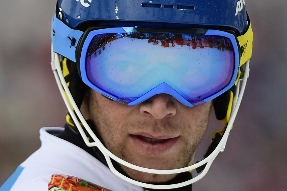 . Austria\'s Benjamin Raich reacts during the Men\'s Alpine Skiing Slalom Run 1 at the Rosa Khutor Alpine Center during the Sochi Winter Olympics on February 22, 2014.        (OLIVIER MORIN/AFP/Getty Images)