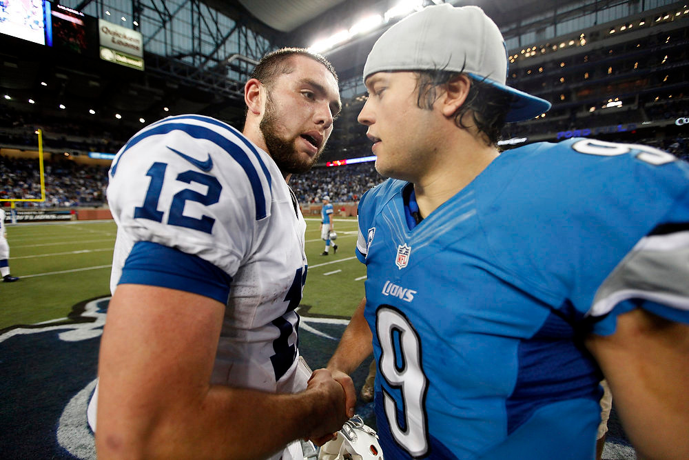 . Indianapolis Colts quarterback Andrew Luck (12) and Detroit Lions quarterback Matthew Stafford (9) shake hands after their NFL football game at Ford Field in Detroit, Sunday, Dec. 2, 2012. The Colts defeated the Lions 35-33. (AP Photo/Paul Sancya)