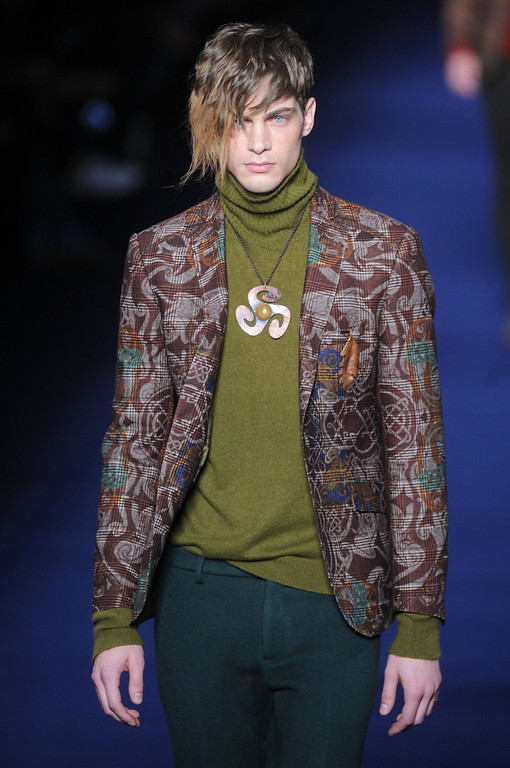. A model walks the runway during the Etro show as part of Milan Fashion Week Menswear Autumn/Winter 2013 on January 14, 2013 in Milan, Italy.  (Photo by Pier Marco Tacca/Getty Images)