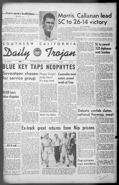Daily Trojan, Vol. 36, No. 216, October 08, 1945