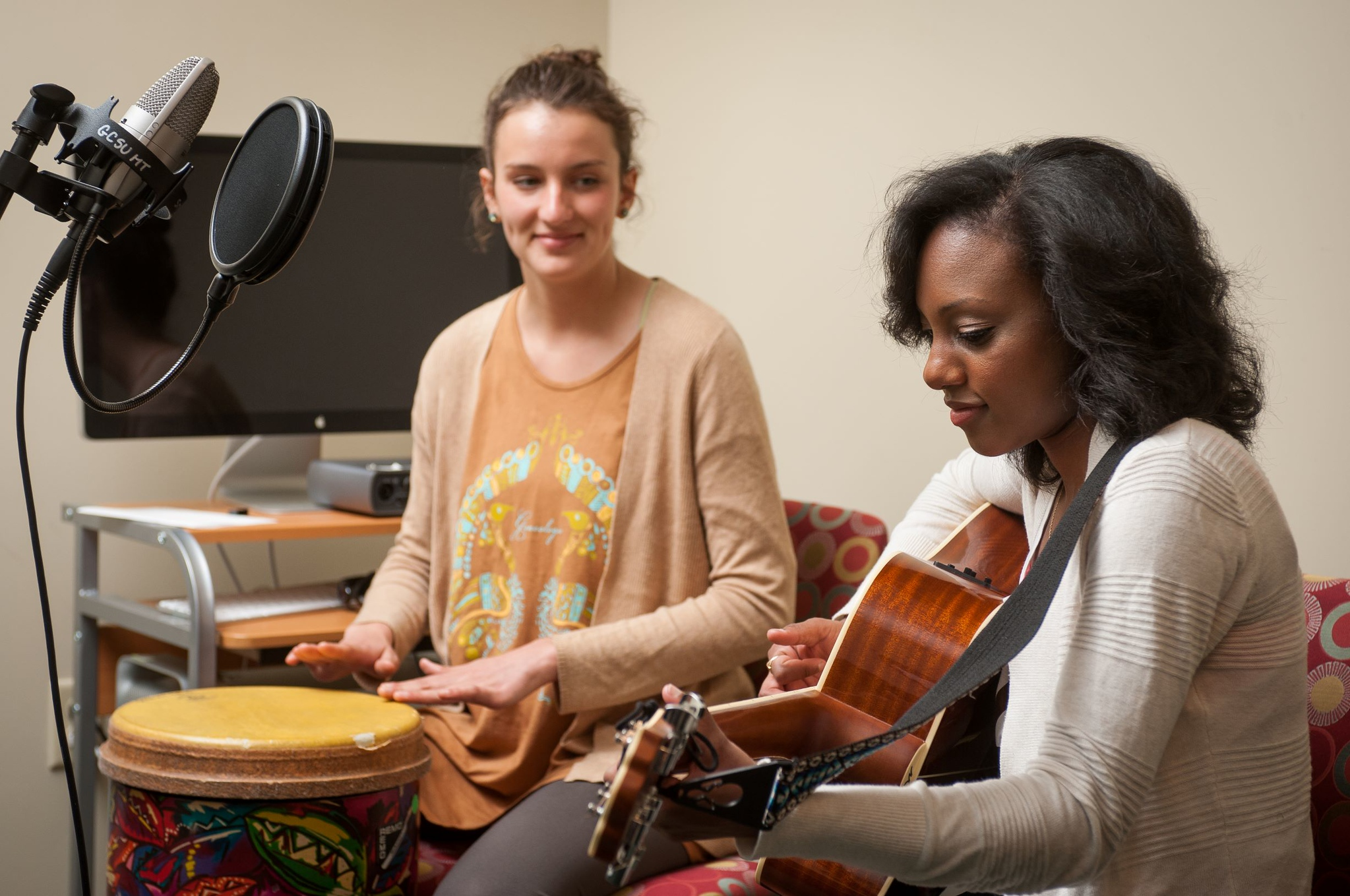 Music therapy students practicing.