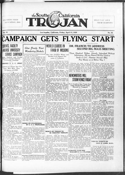 The Southern California Trojan, Vol. 11, No. 82, April 13, 1920