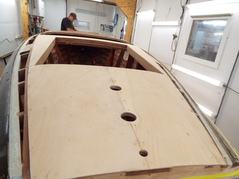 Rear deck skin installed with the temporary fasteners removed.