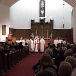 Lutherans and Moravians completed the Jan. 27 celebration of full communion with the Lord's Supper at Augsburg Lutheran Church, Winston-Salem.  Joint worship and the sharing of the sacraments are part of the full communion agreement.