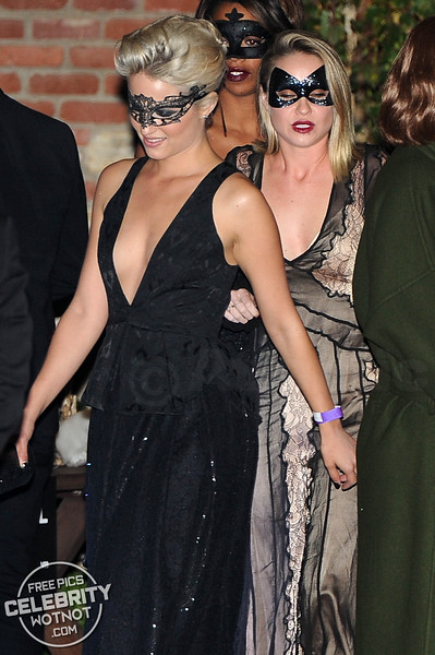 Dianna Agron Hides Behind A Mask In An LBD to Kate Hudson's Halloween Party!