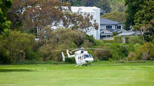 Helicopters are rarely seen parked on the course, but ths one was spotted in front of RWGC member Simon Treacy's house at the back of the Terrace 7th hole on the final day of the Asia-Pacific Amateur Championship tournament 2017 held at Royal Wellington Golf Club, in Heretaunga, Upper Hutt, New Zealand from 26 - 29 October 2017. Copyright John Mathews 2017.   www.megasportmedia.co.nz