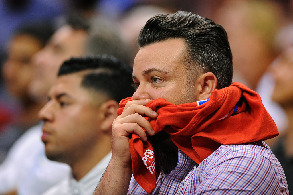 . Clippers fans look on as the Clippers lose to the Thunder 104-98, Thursday, May 15, 2014, at Staples Center. (Photo by Michael Owen Baker/Los Angeles Daily News)