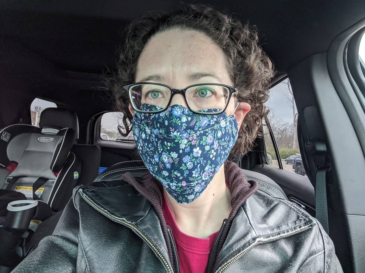 Lisa in mask for Meijer trip, April 19, 2020