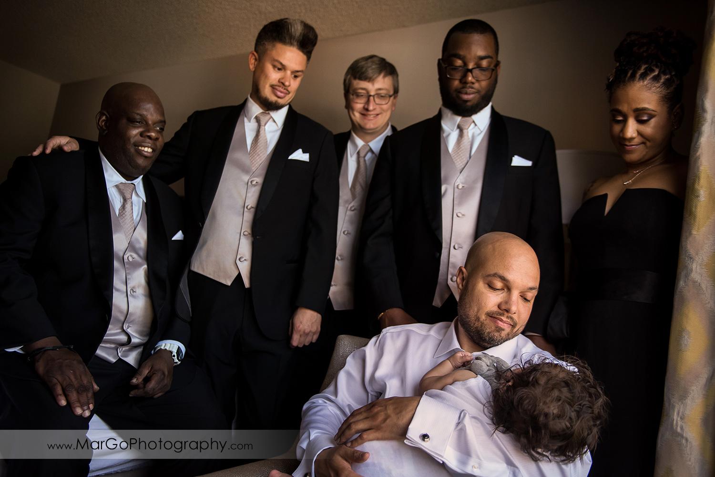 groom and groomsmen at Pleasanton Marriott