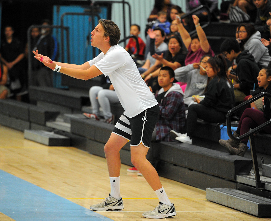 . CARSON - 04/09/2013  (Photo: Scott Varley, Los Angeles Newspaper Group)  San Pedro vs Carson boys volleyball. Carson won 3-0. San Pedro\'s Sean Zuvich argues a call with the referee.
