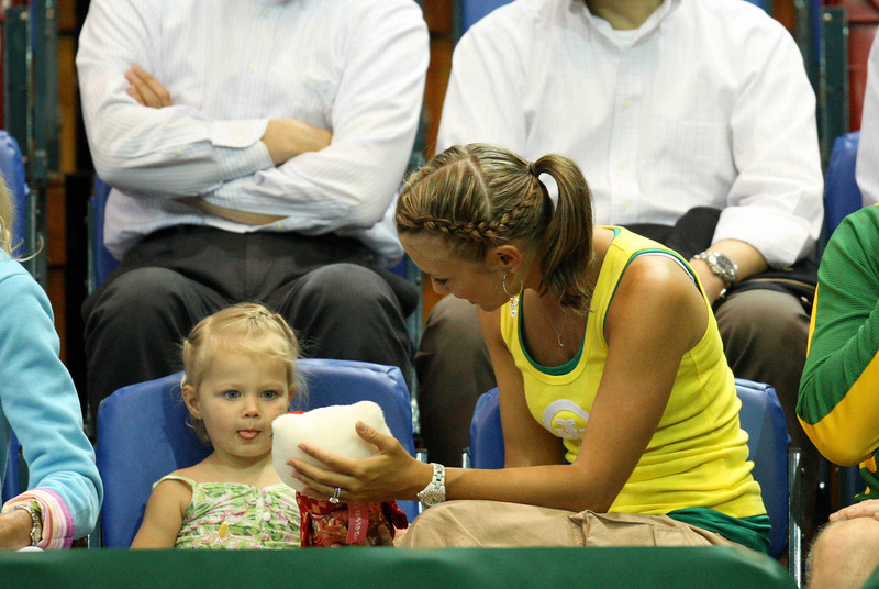11 April 2008 Townsville, Qld, Australia - Mia Hewitt was presented with a gift of a teddy bear from Lleyton's Yonex sponsors before play got underway in the Davis Cup tie between Thailand and Australia - Photo: Cameron Laird (Ph: 0418 238811)