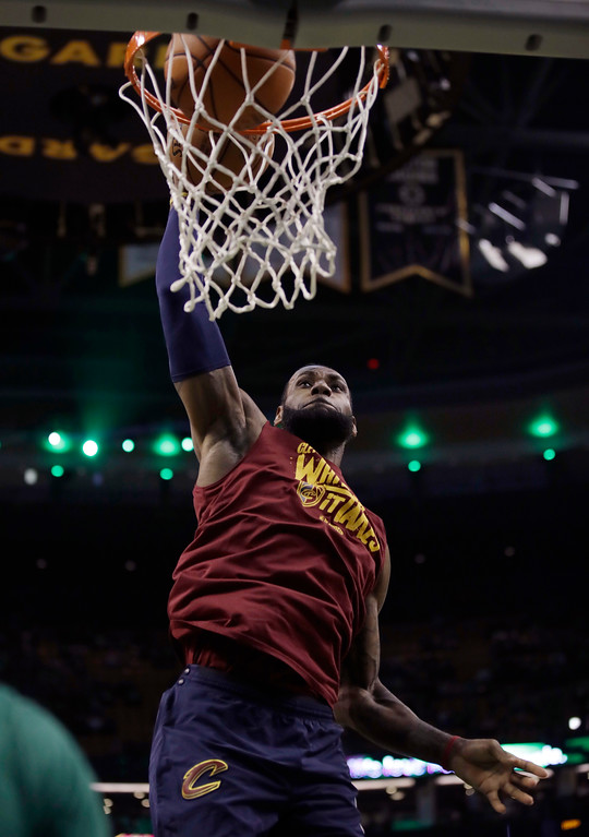 . Cleveland Cavaliers forward LeBron James warms up for Game 2 of the team\'s NBA basketball Eastern Conference finals against the Boston Celtics, Tuesday, May 15, 2018, in Boston. (AP Photo/Charles Krupa)