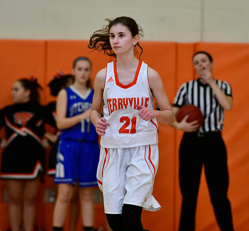 12/21/2018 Mike Orazzi | Staff Terryville's Amy Roqi (21) during Friday night's girls basketball game with Litchfield in Plymouth.