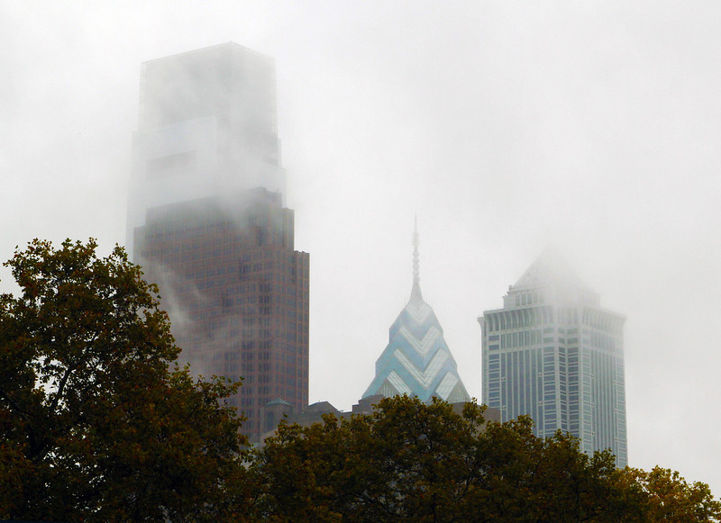 Foggy Philadelphia skyline seen from the Rodin Museum steps