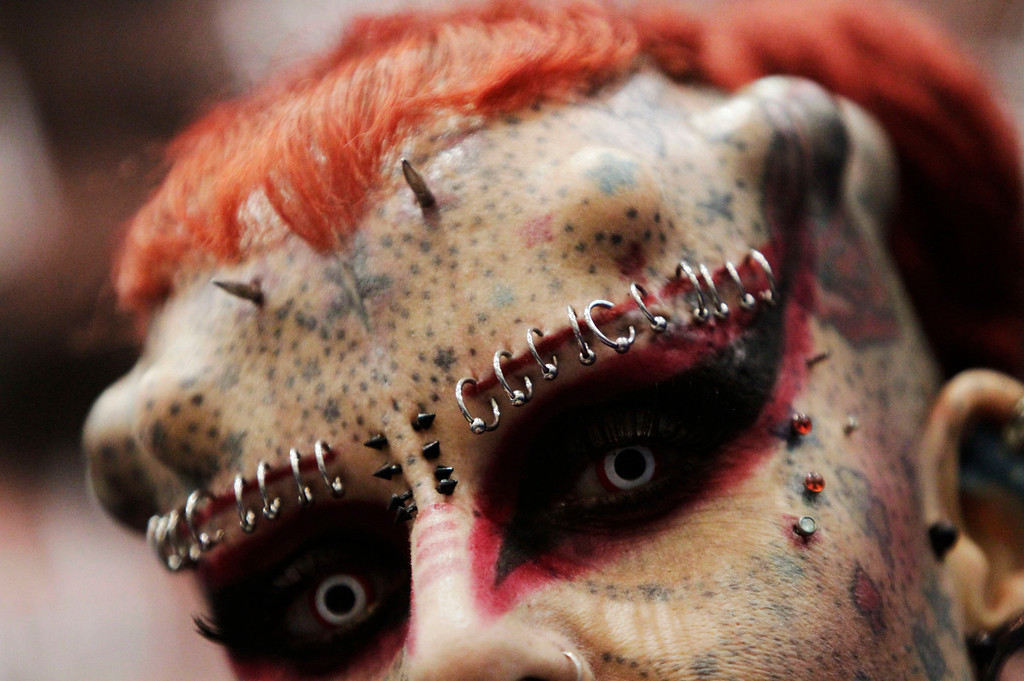 ". Maria Jose Cristerna, a Mexican tattoo artist and former lawyer known as ""Mujer Vampiro\"" (or Vampire Woman), poses for a photograph during the \""Expo Tatuaje\"" international in Monterrey March 2, 2013. REUTERS/Daniel Becerril"