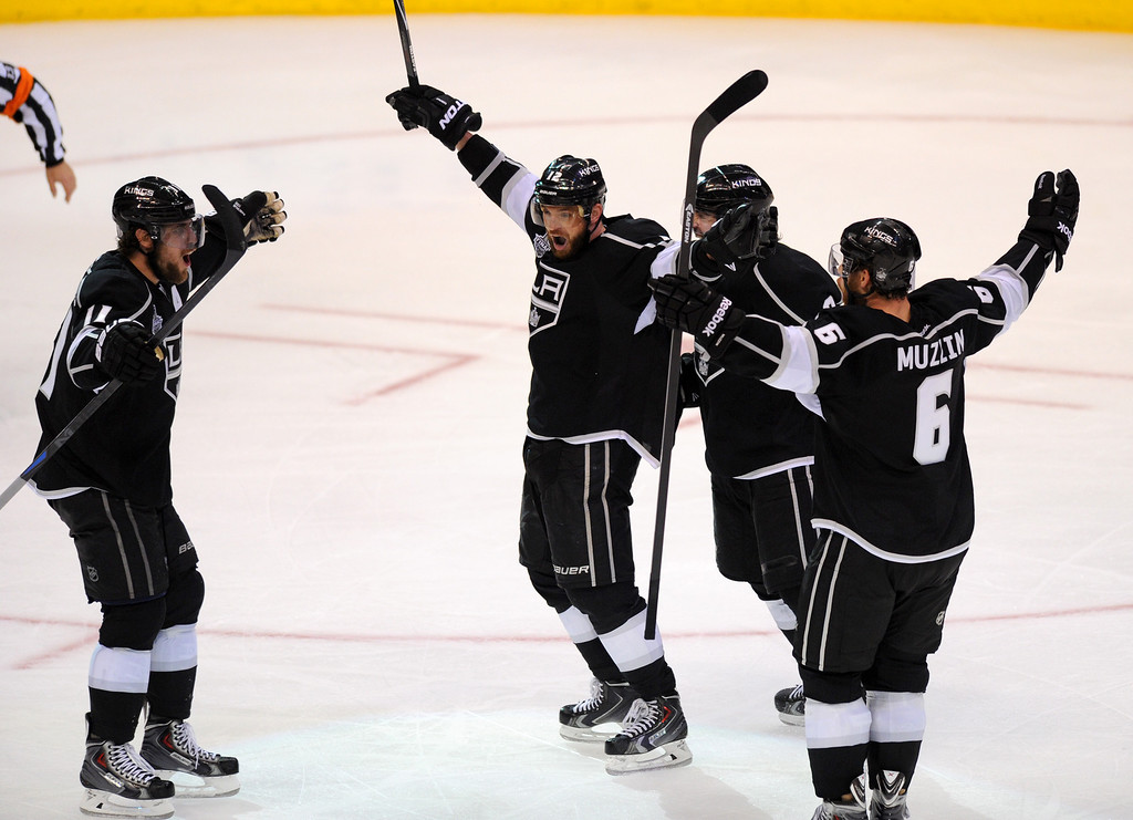 . The Kings\' Marian Gaborik, second from left, celebrates with teammates after tying up the game with his goal in the third period of game two of the Stanley Cup Final, Saturday, June 7, 2014, at Staples Center. (Photo by Michael Owen Baker/Los Angeles Daily News)
