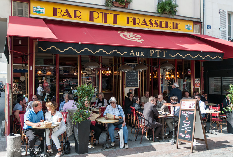Typical Paris sidewalk cafe on Rue Cler