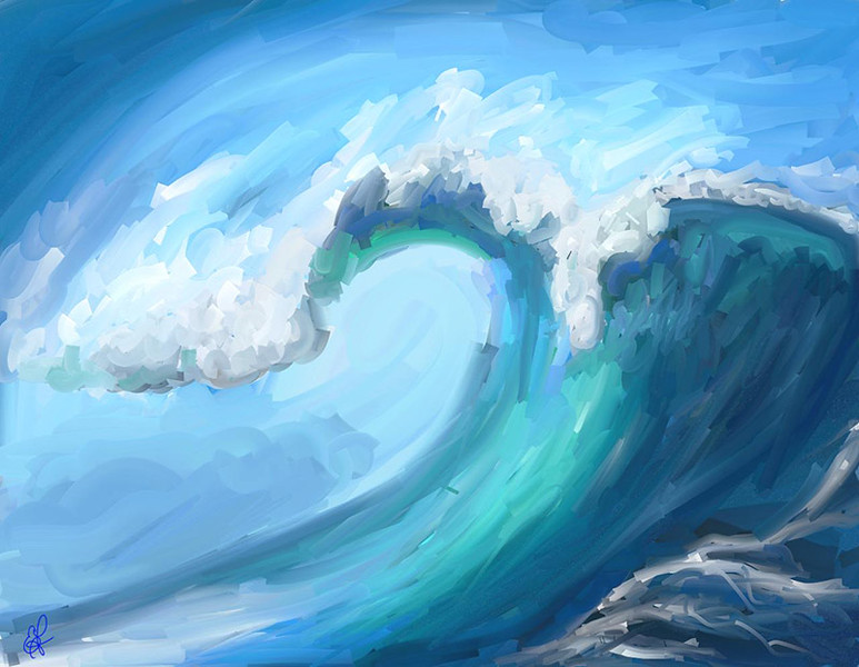 A colorful wave ... painted with ArtRage using the paint roller only.