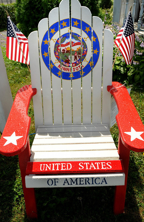 ". A chair titled ""Star Spangled Flags\"" by Nancy Radefeldt includes the Minnesota state seal. (Pioneer Press: Jean Pieri)"