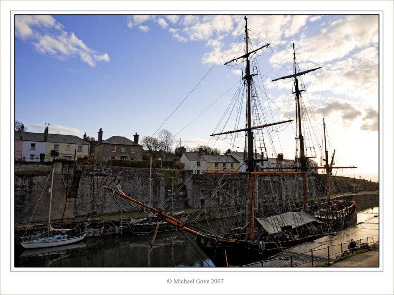 Tall ship in Cornish harbour (73111755).jpg