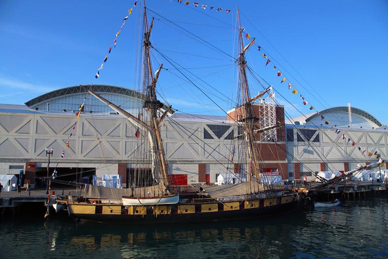 A warship replica.