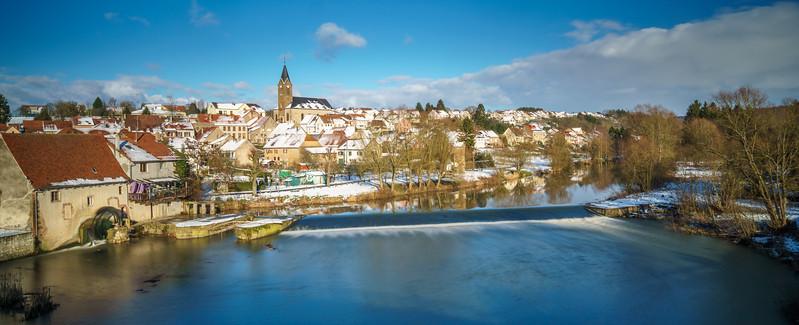 Picturesque Moulin de Sarreinsming beautified by enchanting winter light.