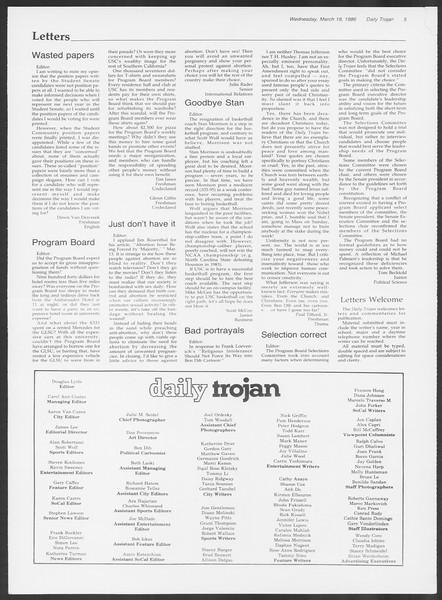 Daily Trojan, Vol. 100, No. 47, March 19, 1986