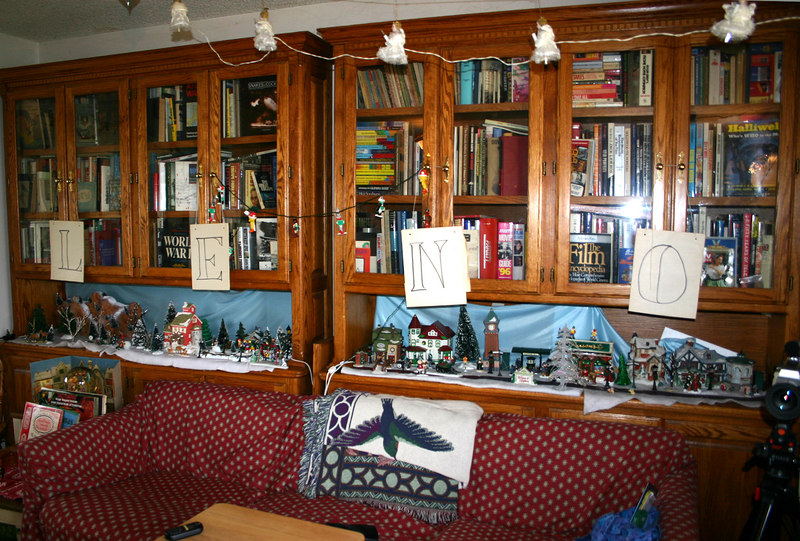book cases and LENO decorations