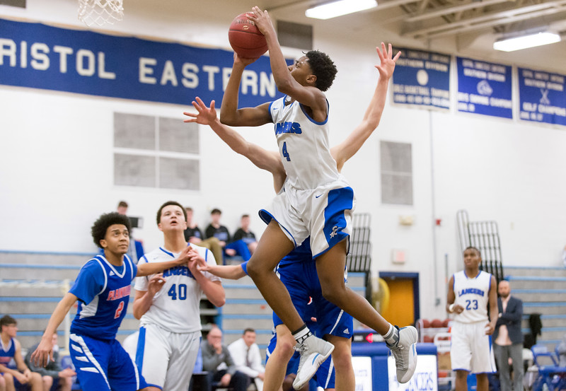 01/07/19  Wesley Bunnell | Staff  Bristol Eastern boys basketball in a home game vs Plainvillle on Monday night. Jahcyrus Lawrence-Bynum (4).