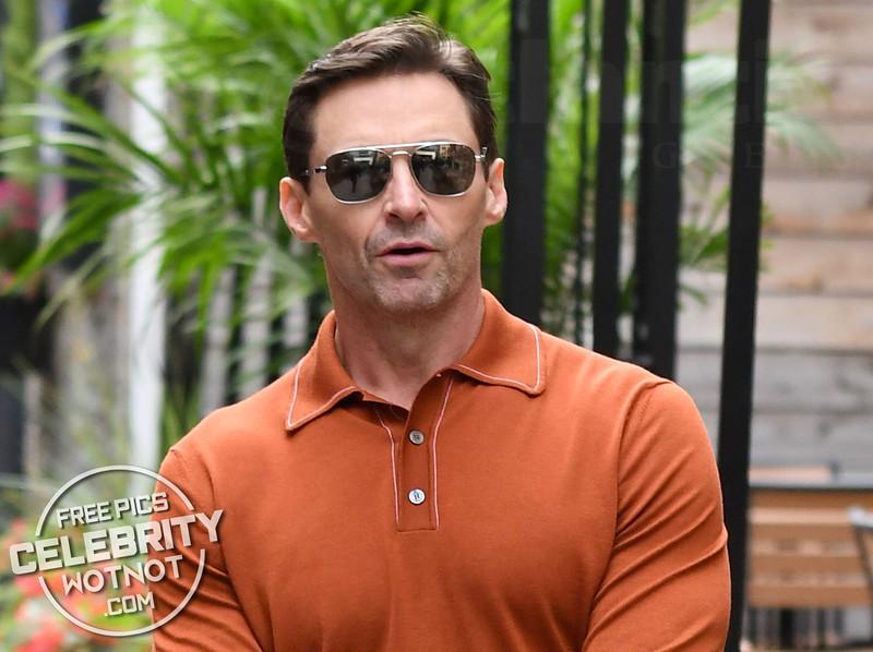 Hugh Jackman In Orange Shirt At TIFF 2018
