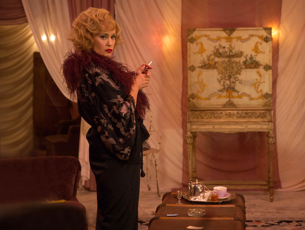 """. In this image released by FX,  Jessica Lange appears in a scene from \""""American Horror Story: Freak Show.\"""" Lange was nominated for a Golden Globe for best actress in a TV movie or mini-series for her role on Thursday, Dec. 11, 2014. The 72nd annual Golden Globe awards will air on NBC on Sunday, Jan. 11. (AP Photo/FX, Michele K. Short)"""