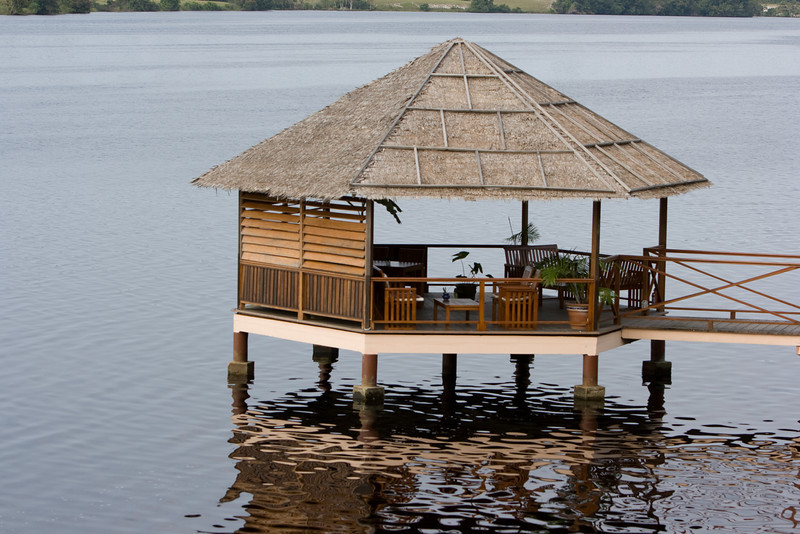 The Loango Lodge had a nice covered sitting area out in the Iguela Lagoon.