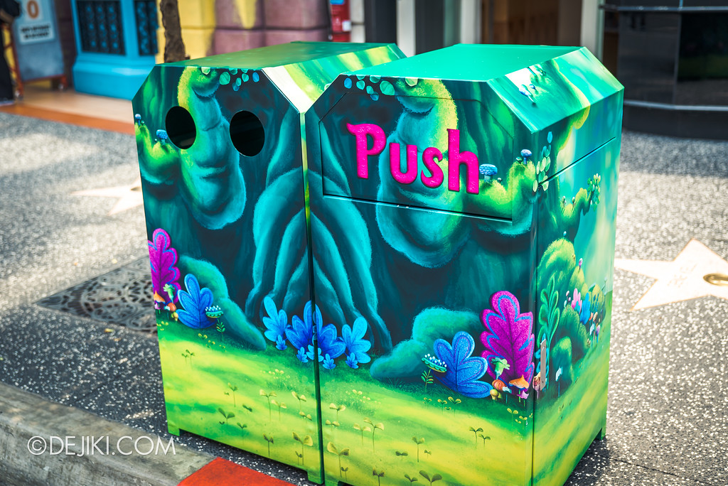 Universal Studios Singapore Park Update March 2018 TrollsTopia event - recycling bin overlay