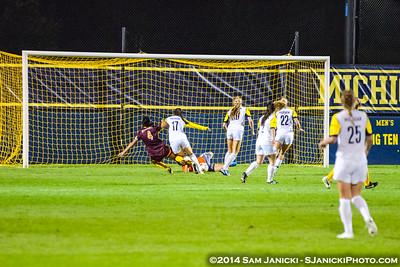 2nd Half of UM Women's Soccer Vs Minnesota 9-12-14