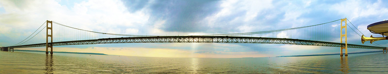 We leave Mackinac Island under the Mackinac Bridge.  Five miles long -- 1.6 mile central suspension span.