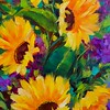 Paintings Fifth Place:  Summer Sunflowers with Pretty Purple Hydrangeas