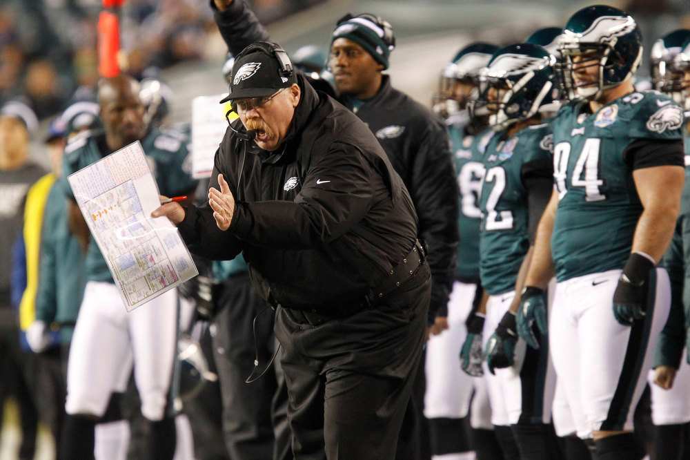 Description of . Philadelphia Eagles head coach Andy Reid yells on the sidelines during their NFL football game against the Cincinnati Bengals in Philadelphia, Pennsylvania, December 13, 2012.  REUTERS/Tim Shaffer