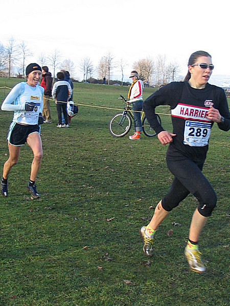 2005 Canadian XC Championships - Cheryl leads Lucy.  Lucy has fun.