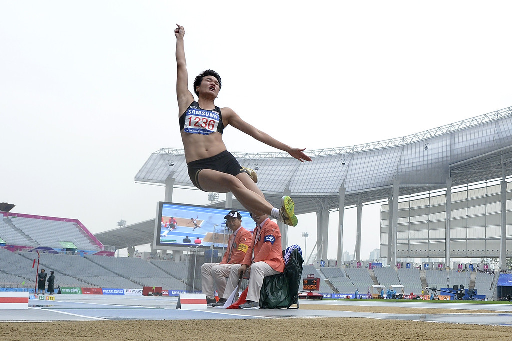 . Thailand\'s Kotchakorn Khamrueangsri competes in the women\'s heptathlon long jump athletics event during the 17th Asian Games at the Incheon Asiad Main Stadium in Incheon on September 29, 2014. MARTIN BUREAU/AFP/Getty Images