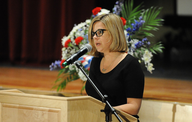 "Tracy Roberts reads ""In Flanders Field"". Phillipsburg area veterans Sunday, Nov. 11, 2018  were honored during the 21st annual William L. Nixon tribute. Hundreds attended the event at Phillipsburg High School in Lopatcong Township, in which the U.S. Department of Veterans Affairs has honored as a regional site for the observance of the commemoration."