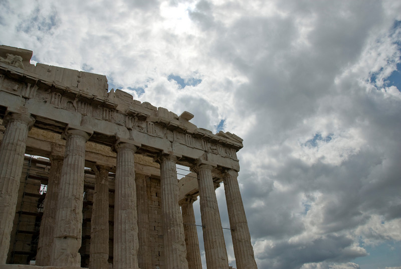 The pillars of Acropolis of Athens against the clouds - Greece