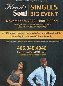 """Heart & Soul """"SINGLES Big Event"""" Saturday Nov 9, 2013"""