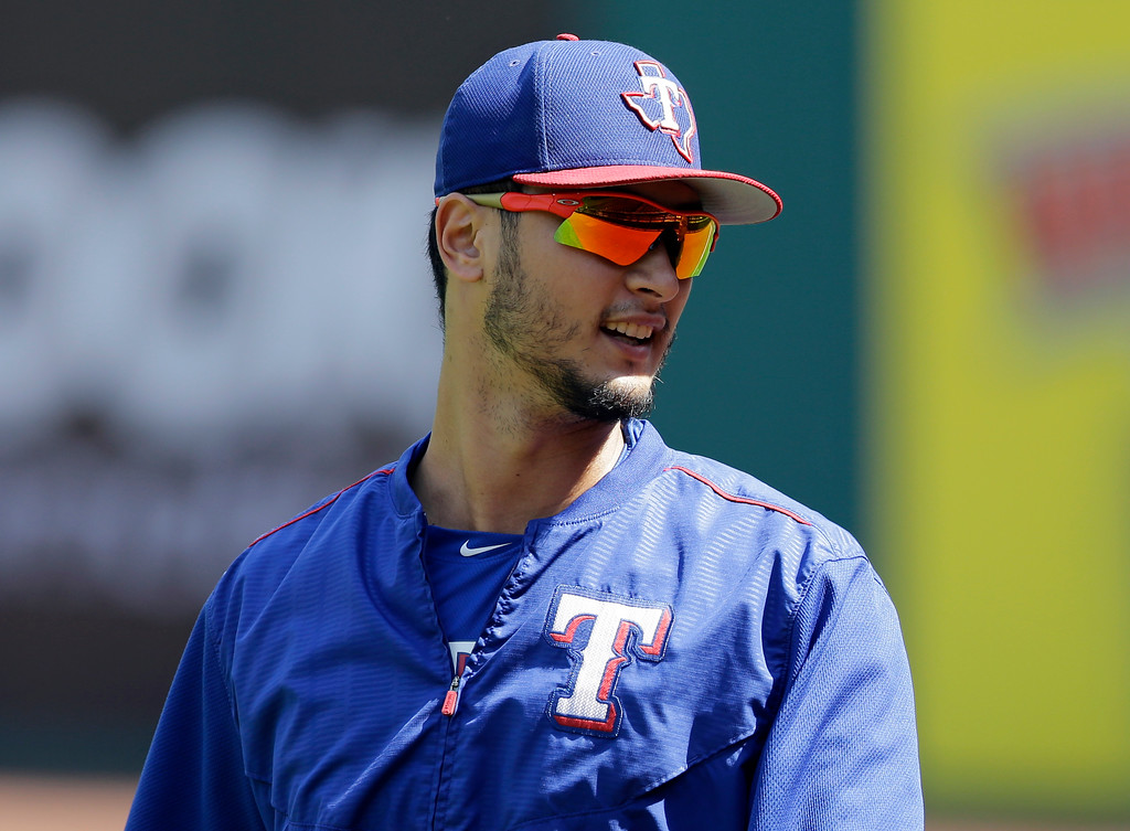. Texas Rangers\' Yu Darvish is shown during batting practice before a baseball game between the Texas Rangers and the Cleveland Indians, Thursday, June 29, 2017, in Cleveland. (AP Photo/Tony Dejak)