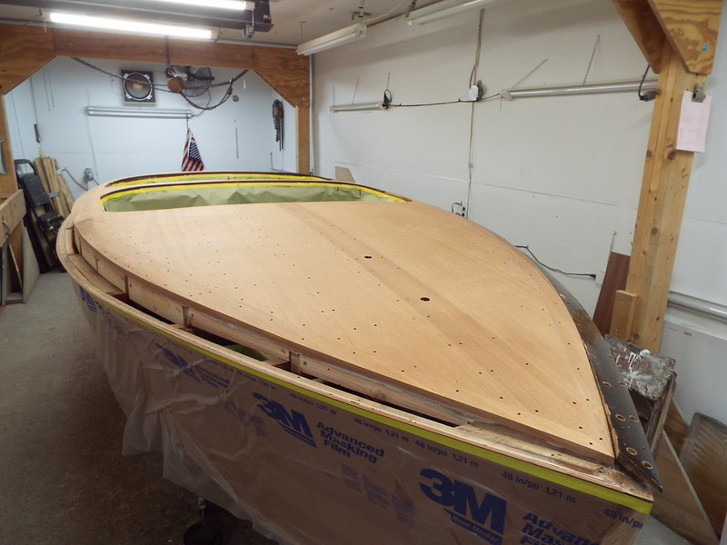 Front starboard view of the new cover board installed.